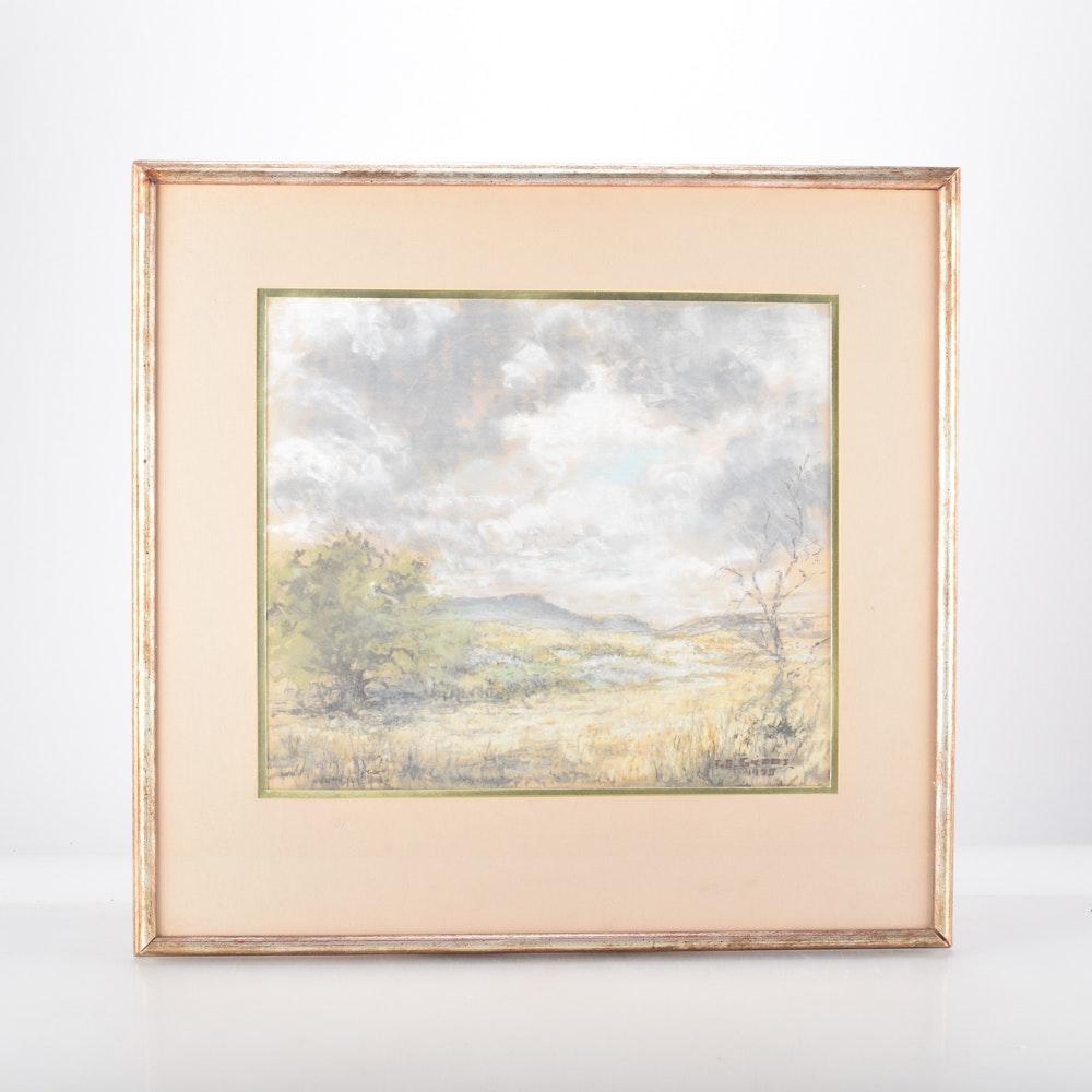 Original Chalk Pastel Landscape Drawing