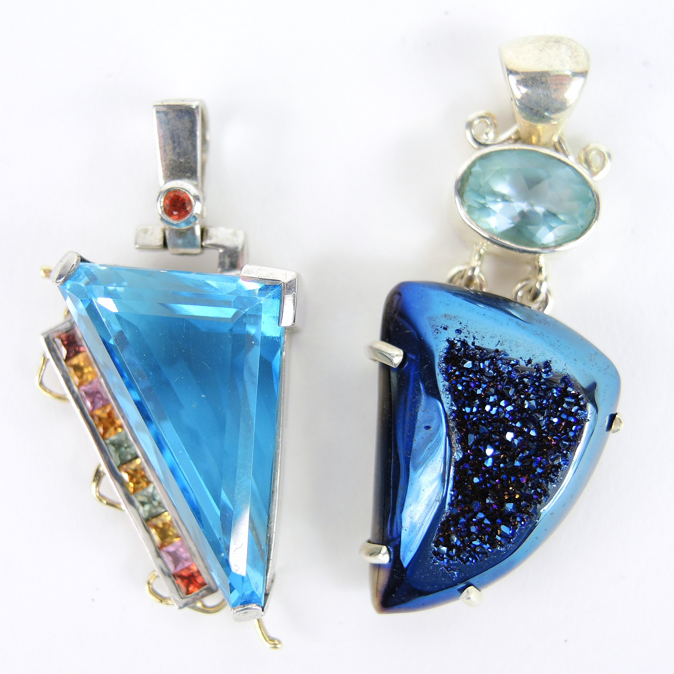 Topaz Triangular Pendants in Sterling Silver