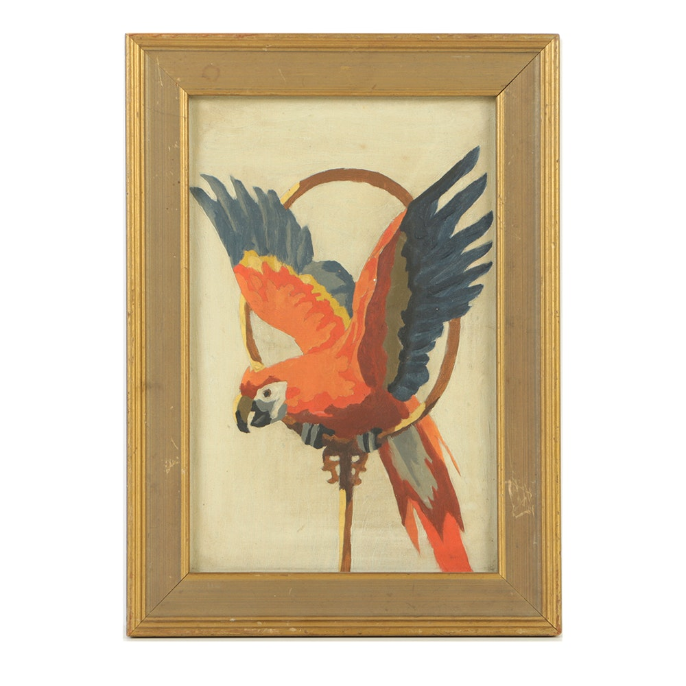 Original Oil Painting on Canvas of a Scarlet Macaw