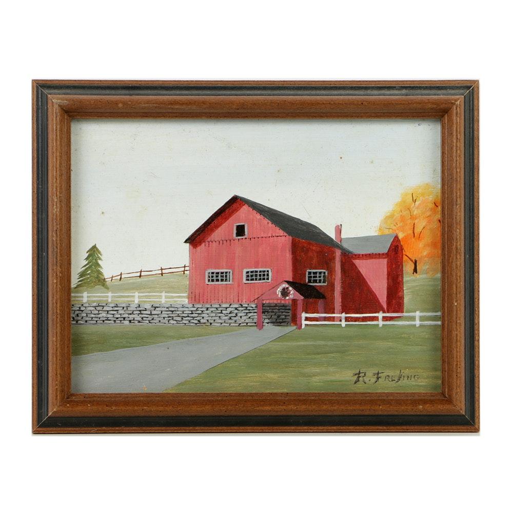 Richard Freking Oil Painting on Board of Red Barn