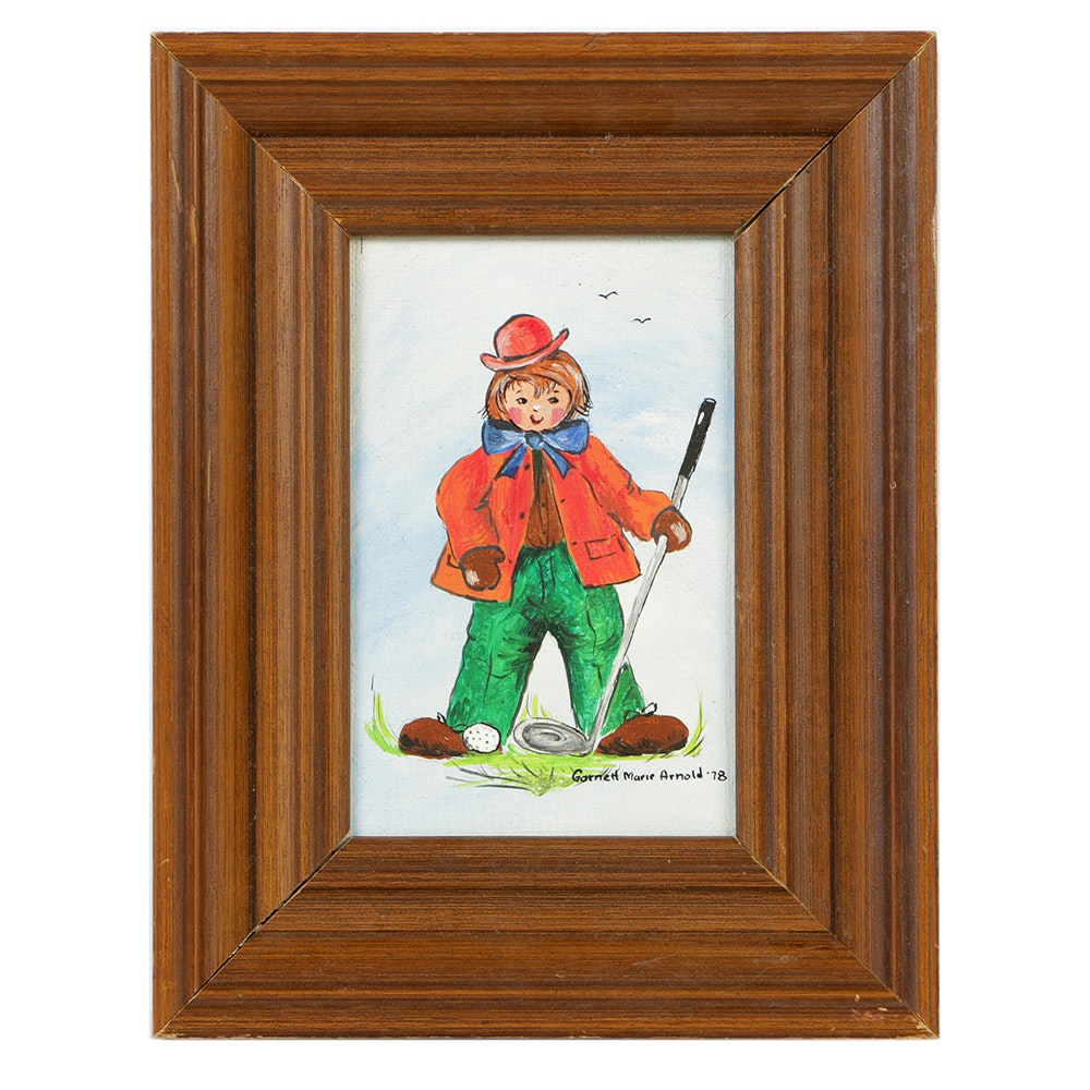 "Garnett Marie Arnold Oil Painting on Canvas Board ""Golf Clown"""