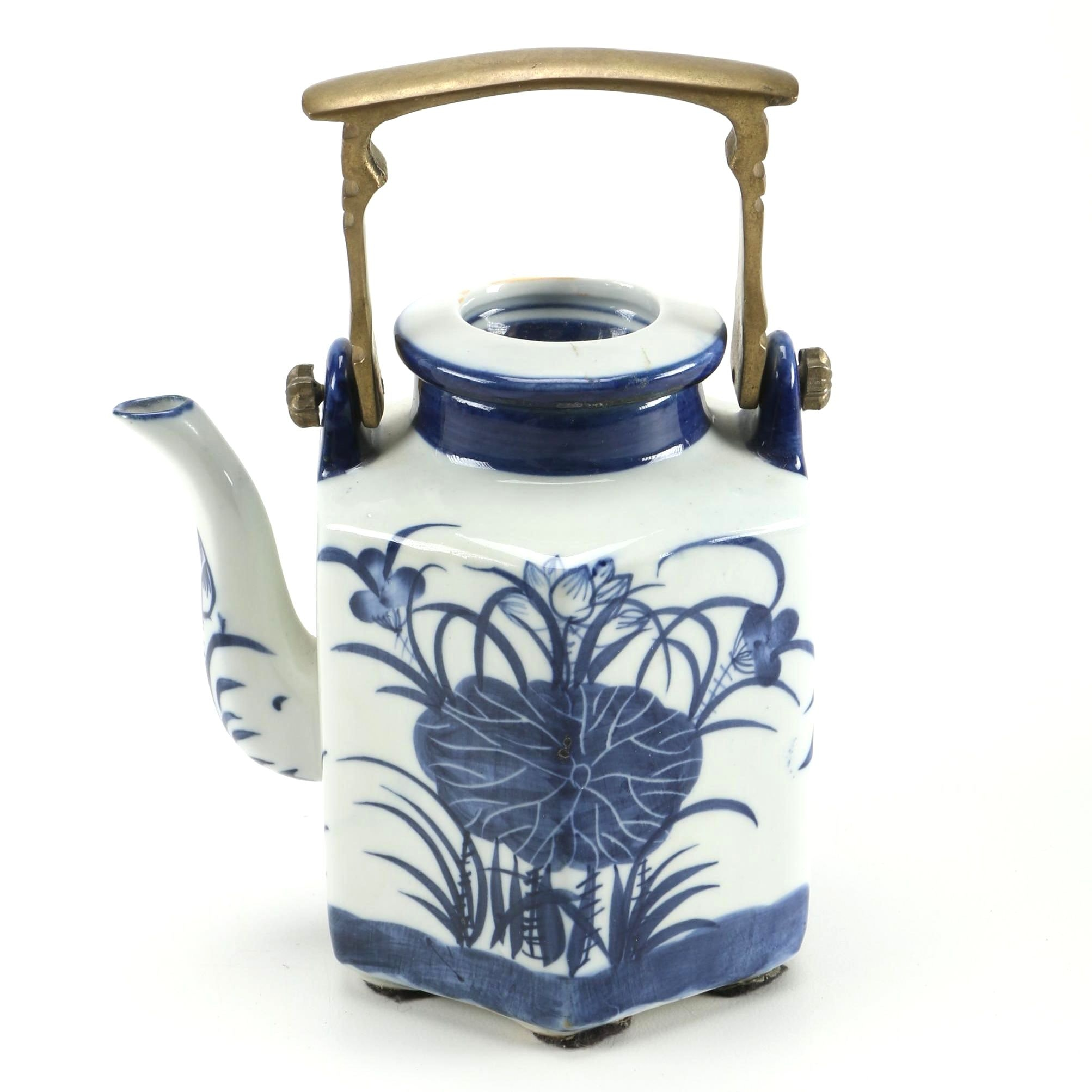 Ceramic Teapot with Brass Handle