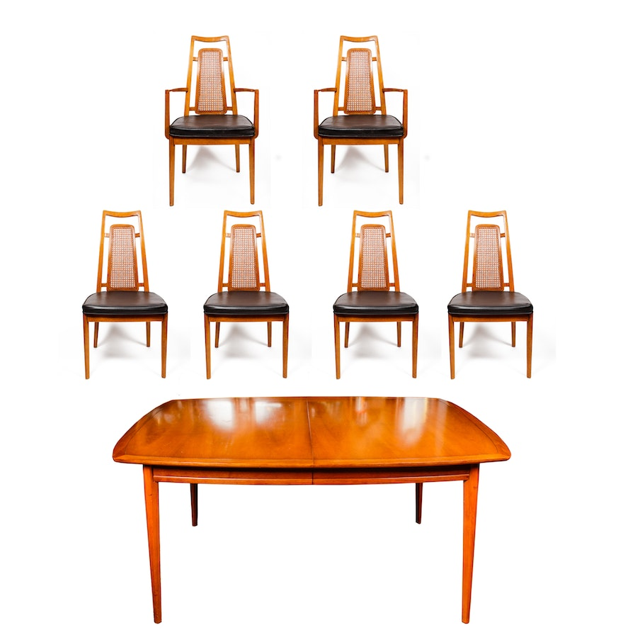 mid century drexel heritage dining table and chairs ebth. Black Bedroom Furniture Sets. Home Design Ideas
