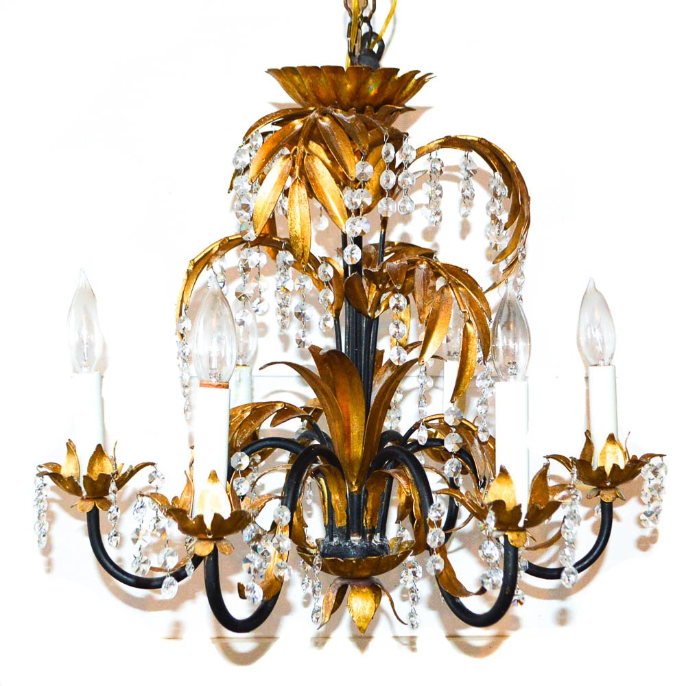 Gold Tone and Crystal Bead Chandelier