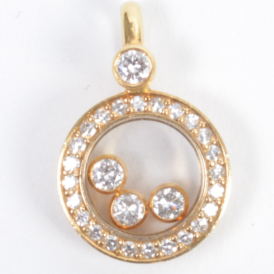18k gold chopard happy diamonds pendant ebth 18k gold chopard happy diamonds pendant aloadofball
