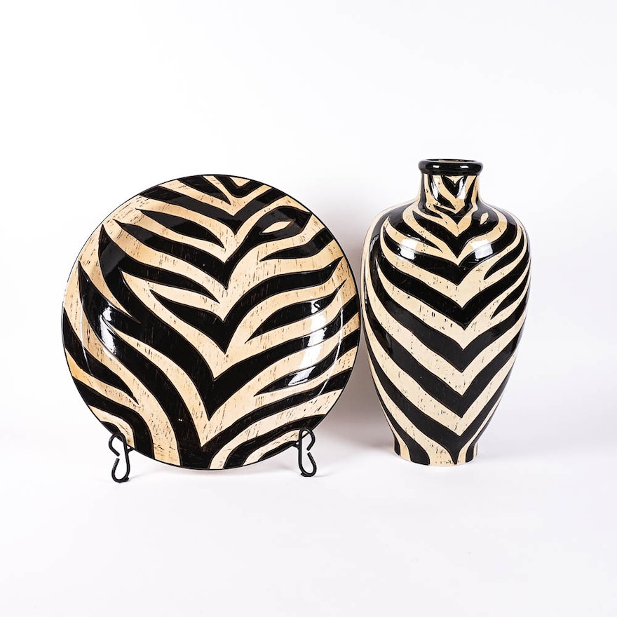 Zebra Print Over Sized Charger And Vase Ebth