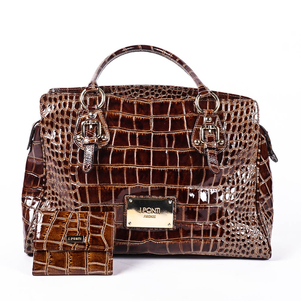 "I Ponti ""Firenze"" Italian Leather Handbag and Wallet"