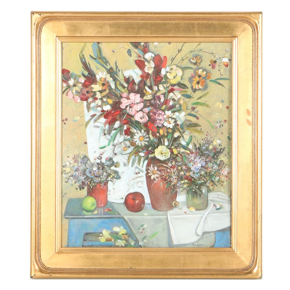 Magrez Kelehsaev Oil on Canvas Board of Floral Arrangement