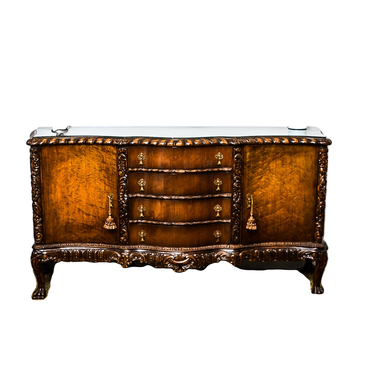 Antique Rococo Inspired Sideboard With Serpentine Front