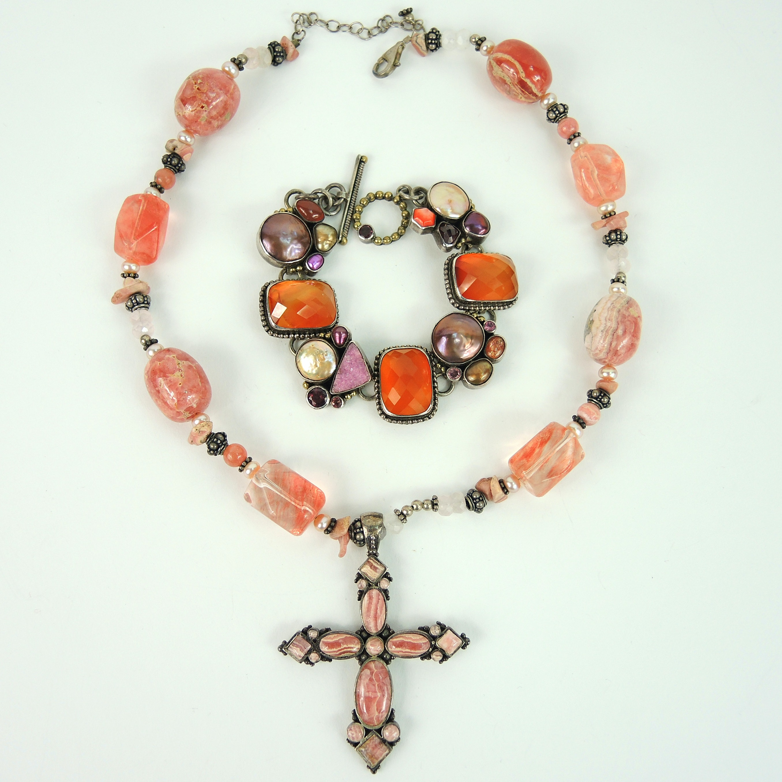 Multi-stone Bracelet and Cross Necklace By Barse