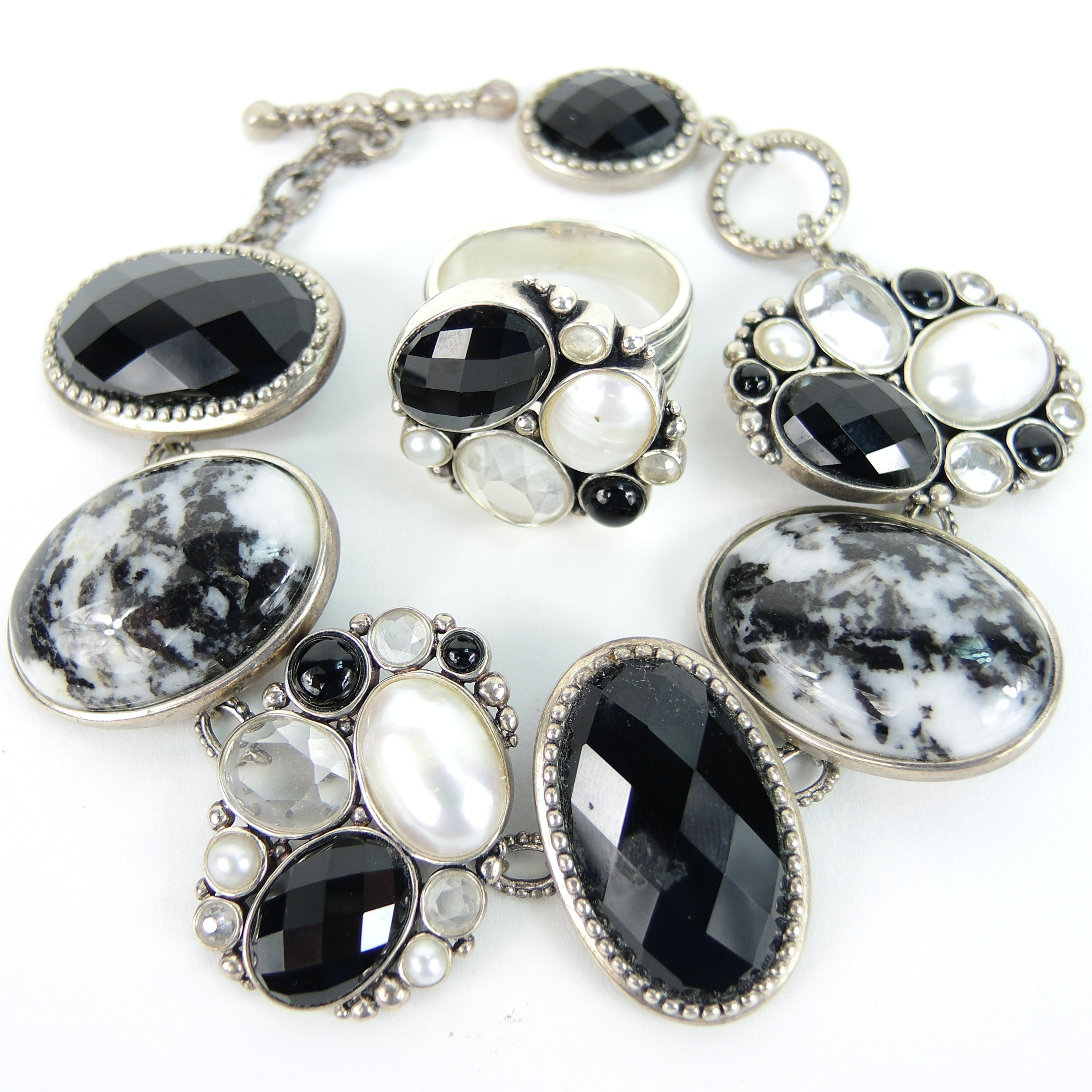 Sterling White Sapphire, Onyx, Pearl Ring and Bracelet