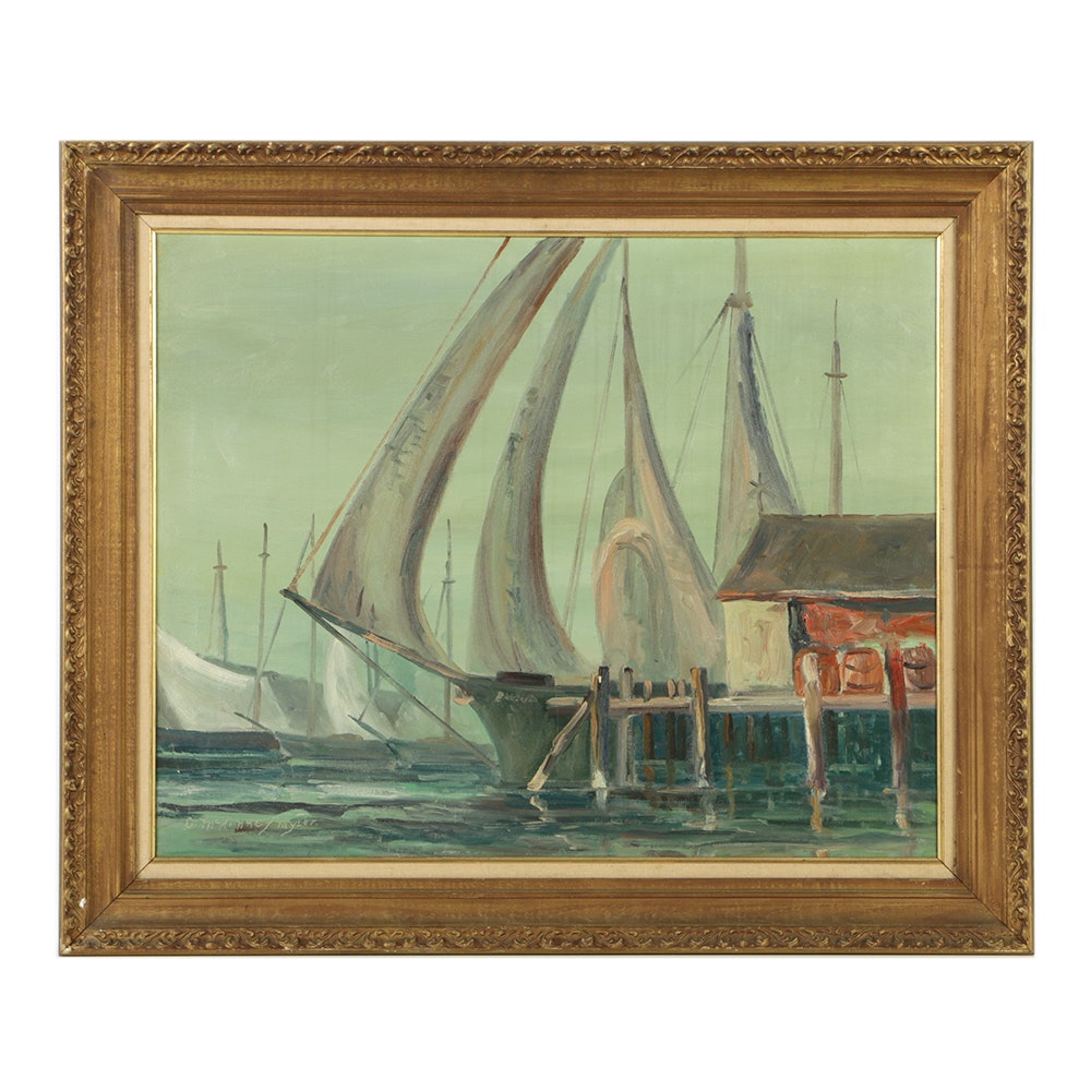 D. McKinney Taylor Oil Painting on Canvas Harbor Genre Scene