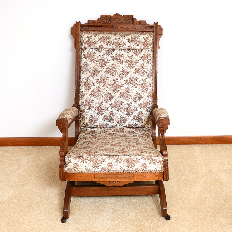 the latest 4ae8f 47690 Antique Victorian Eastlake Style Walnut Rocking Chair