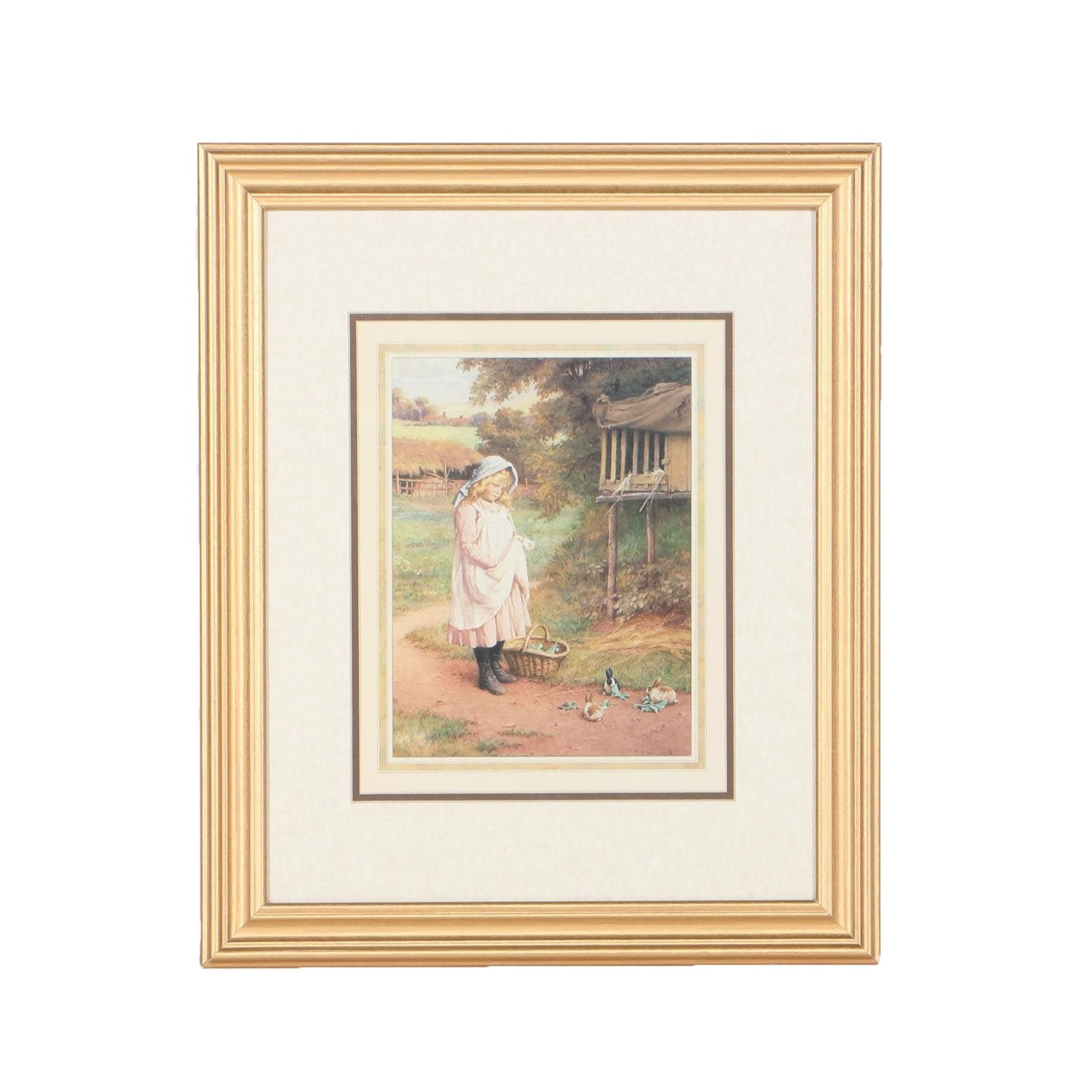 After C.E. Wilson Offset Lithograph of Young Girl