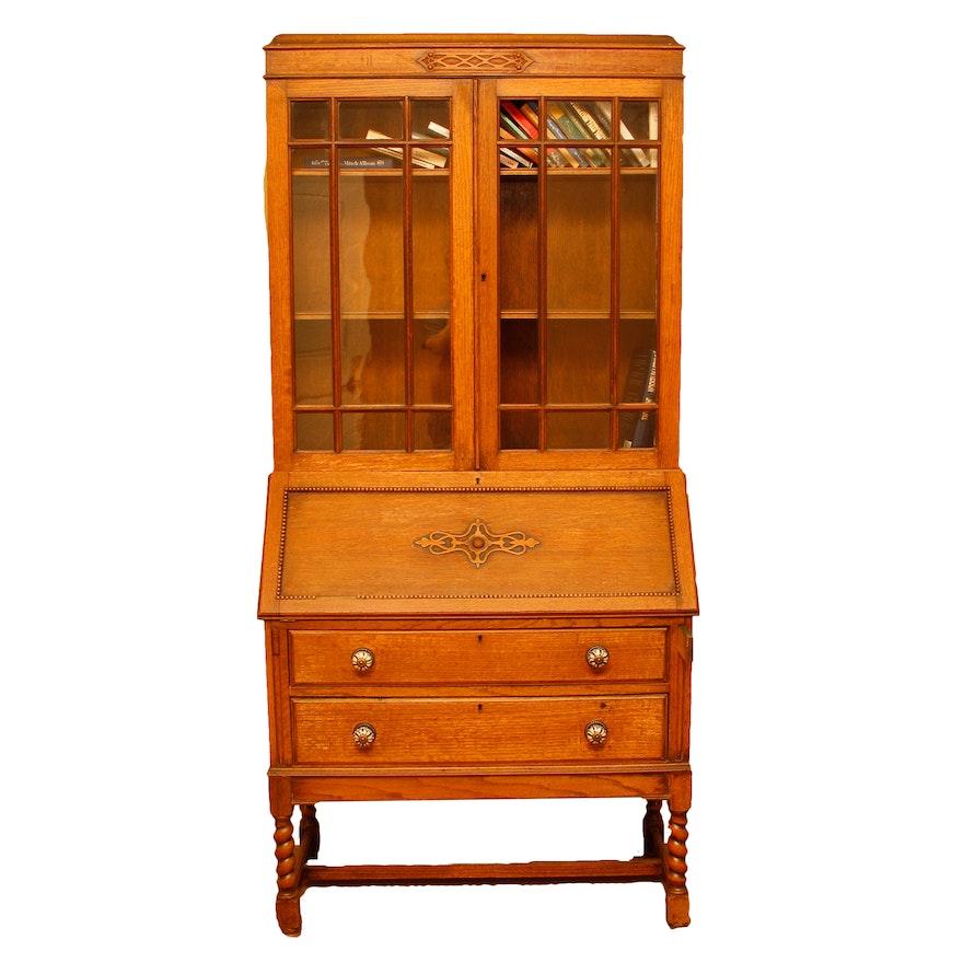 Antique Oak Secretary Bookcase ... - Antique Oak Secretary Bookcase : EBTH