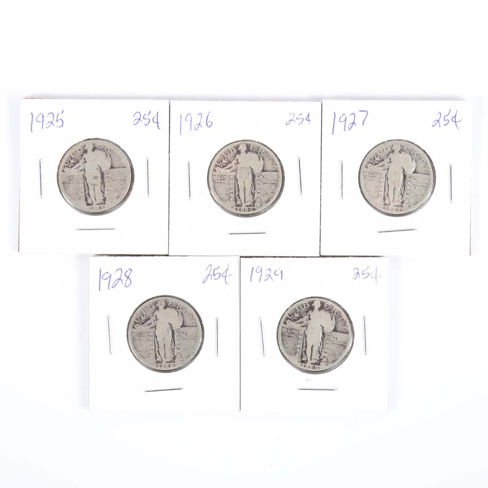 Five Standing Liberty Quarters