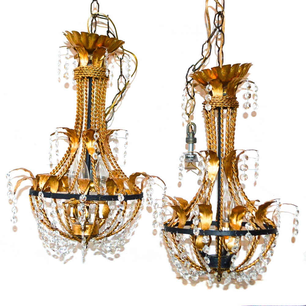 Pair of Twisted Gold Tone and Crystal Chandeliers