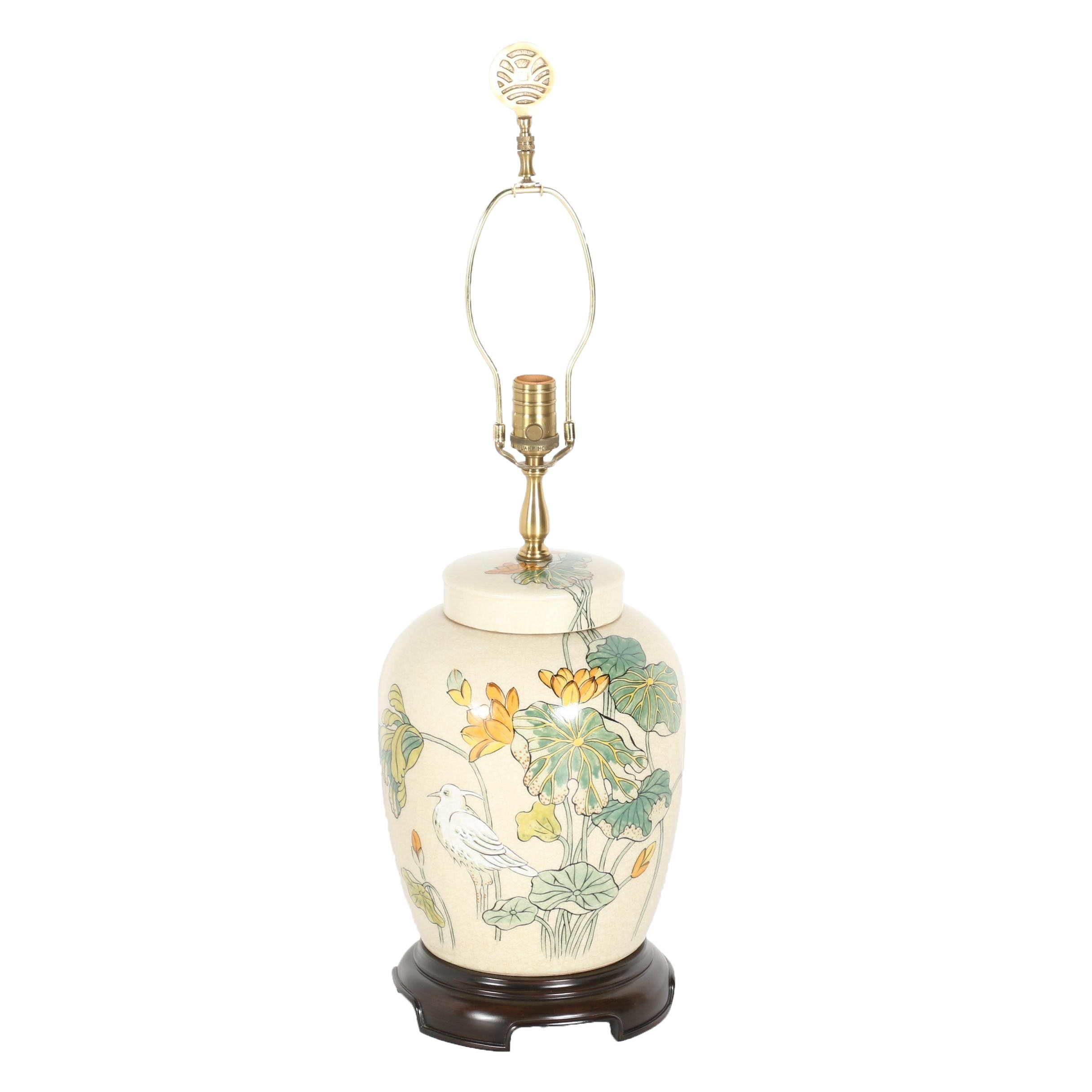 Hand-Painted Chinese Ceramic Floral Lamp