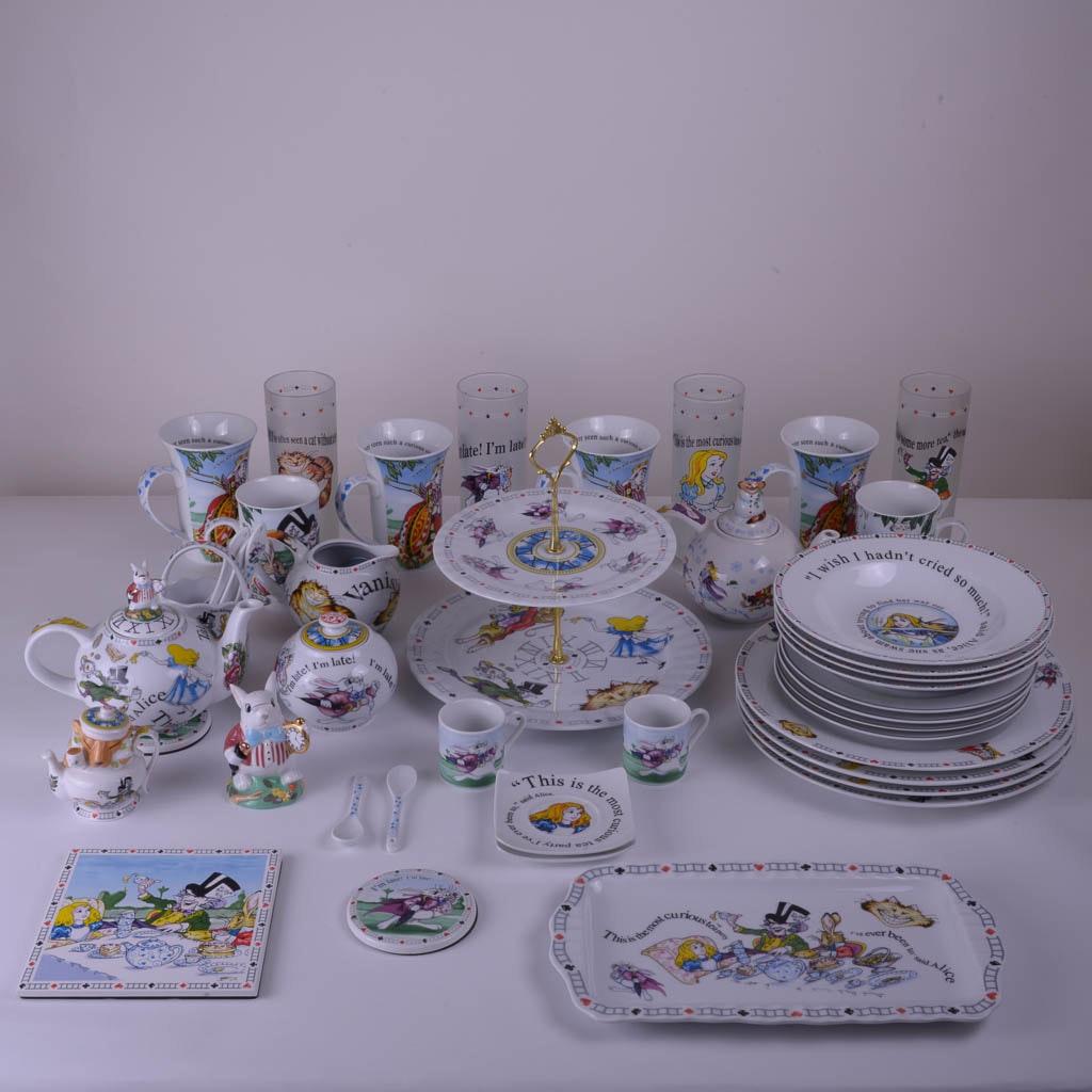 "Generous Collection of Paul Cardew ""Alice in Wonderland's Cafe"" Tableware"