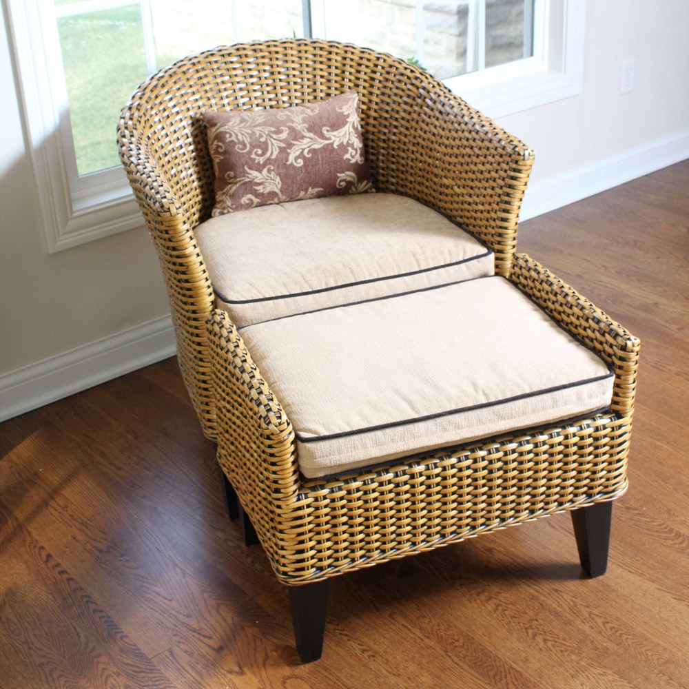 wonderful Ottoman Imports Part - 4: Wicker Chair and Ottoman by Pier 1 Imports ...
