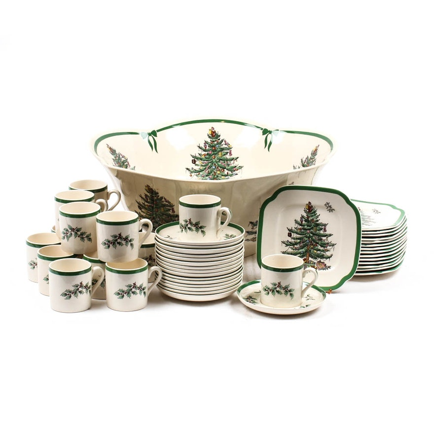 "Spode Christmas Tree Candle Holder: Spode ""Christmas Tree"" Punch Bowl And Cups"