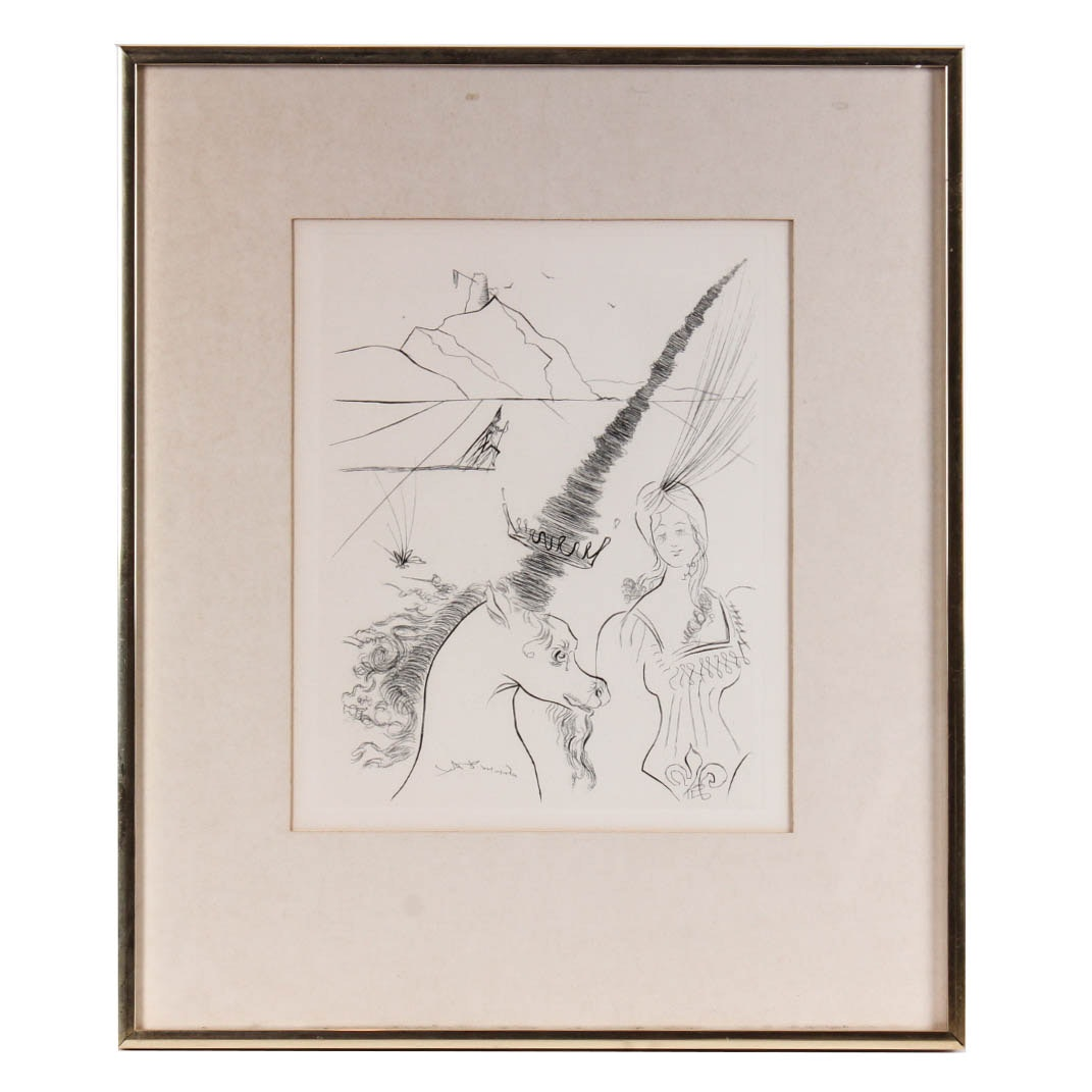 "After Salvador Dali ""The Lady and the Unicorn"" Etching"