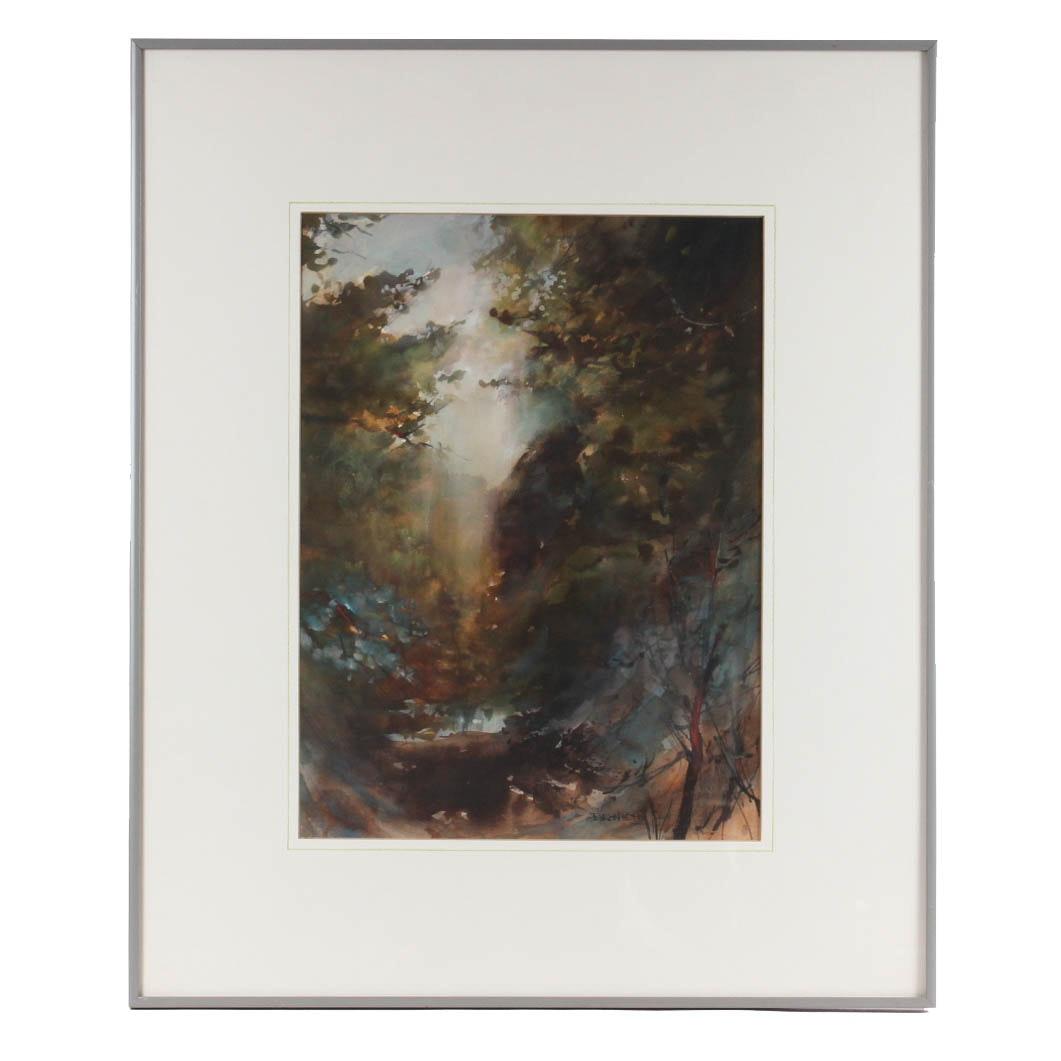 "Byron Kohn ""Genesis"" Watercolor Landscape"