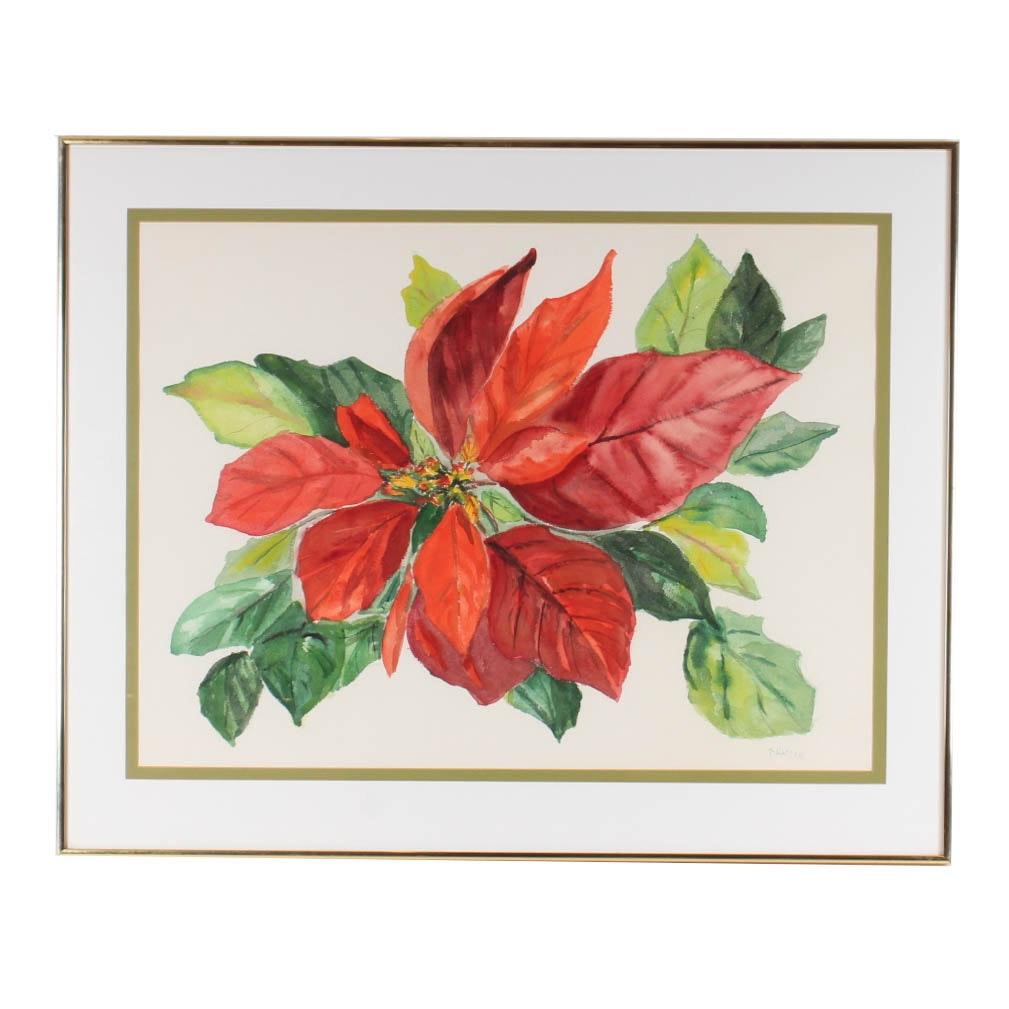 Thelma Walter Poinsettia Watercolor