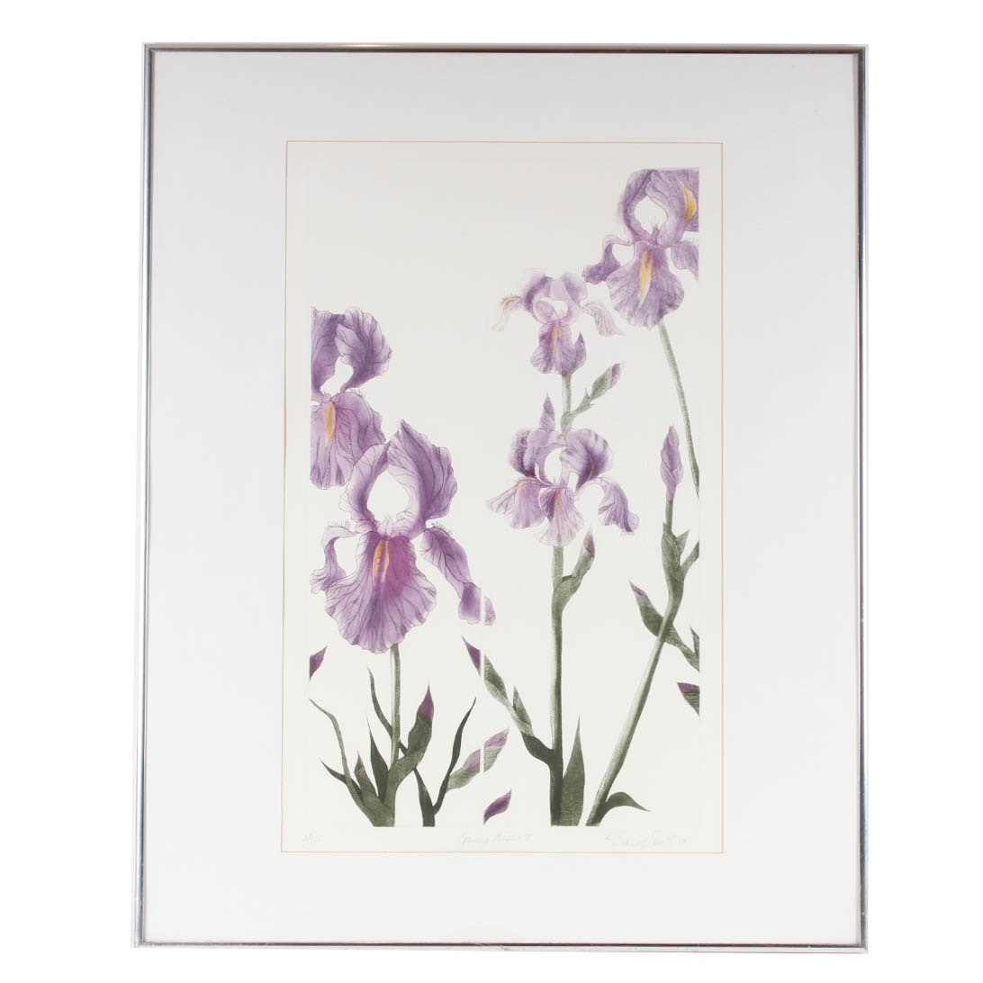 "Elaine Sewel Limited Edition Etching""Irises II"""