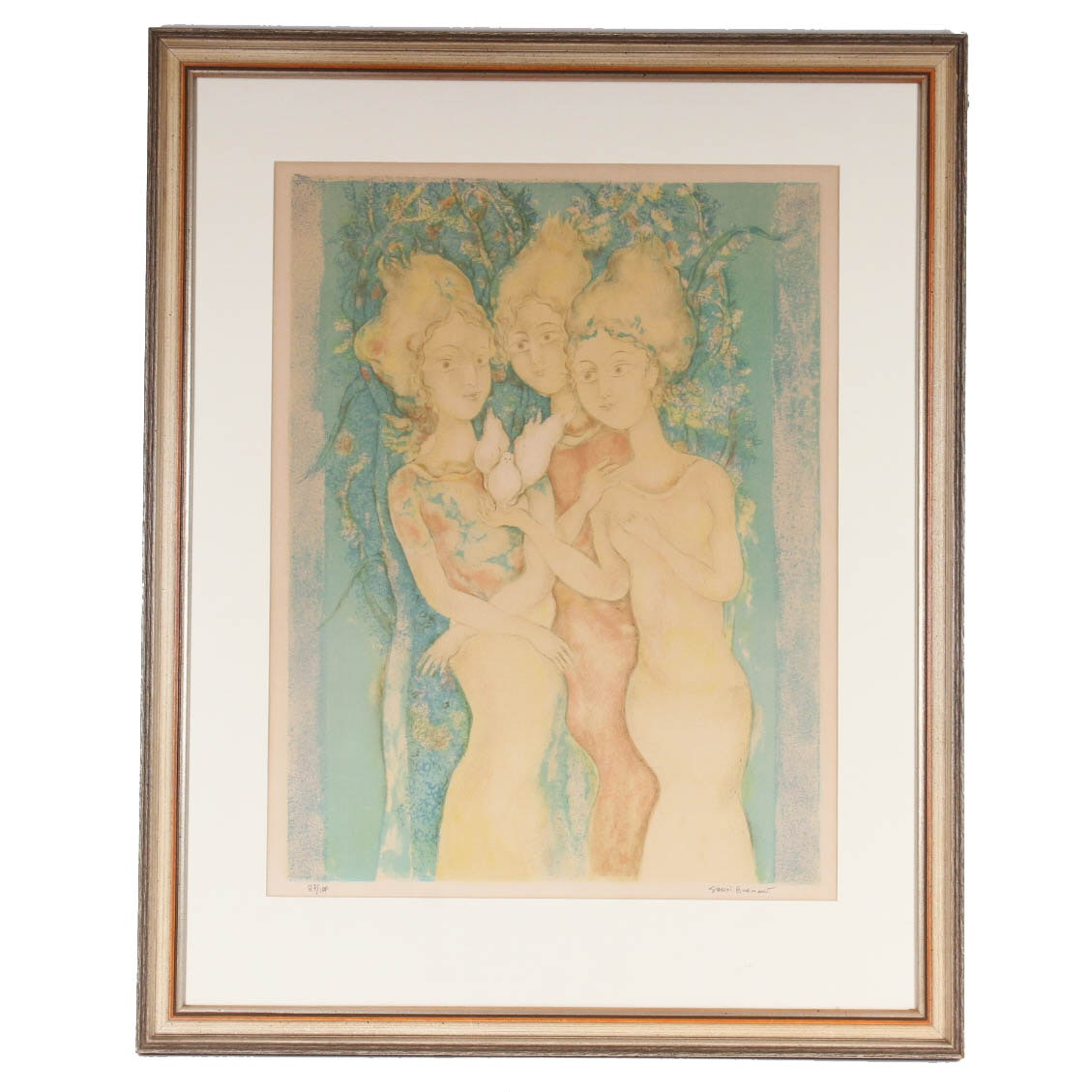 "Sakti Burman Limited Edition Lithograph ""The Three Graces"""