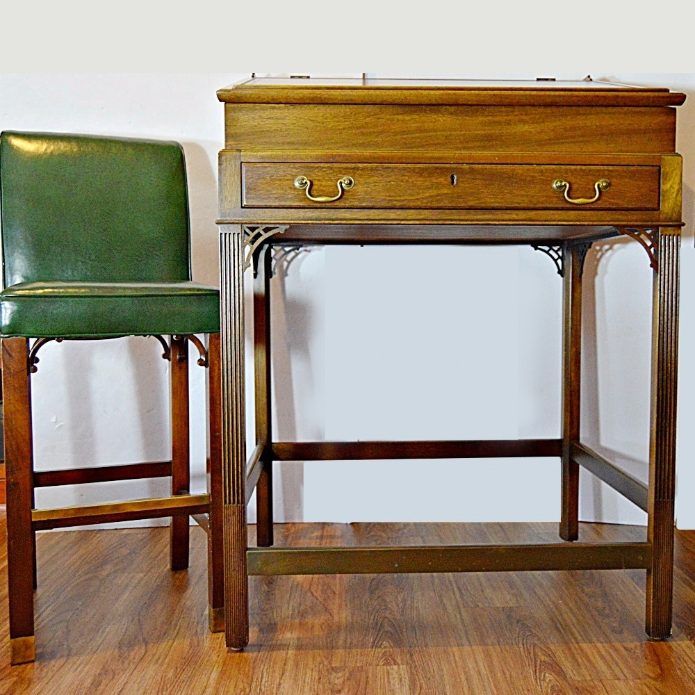 Chippendale Style Walnut Standing Desk and Green Leather Stool