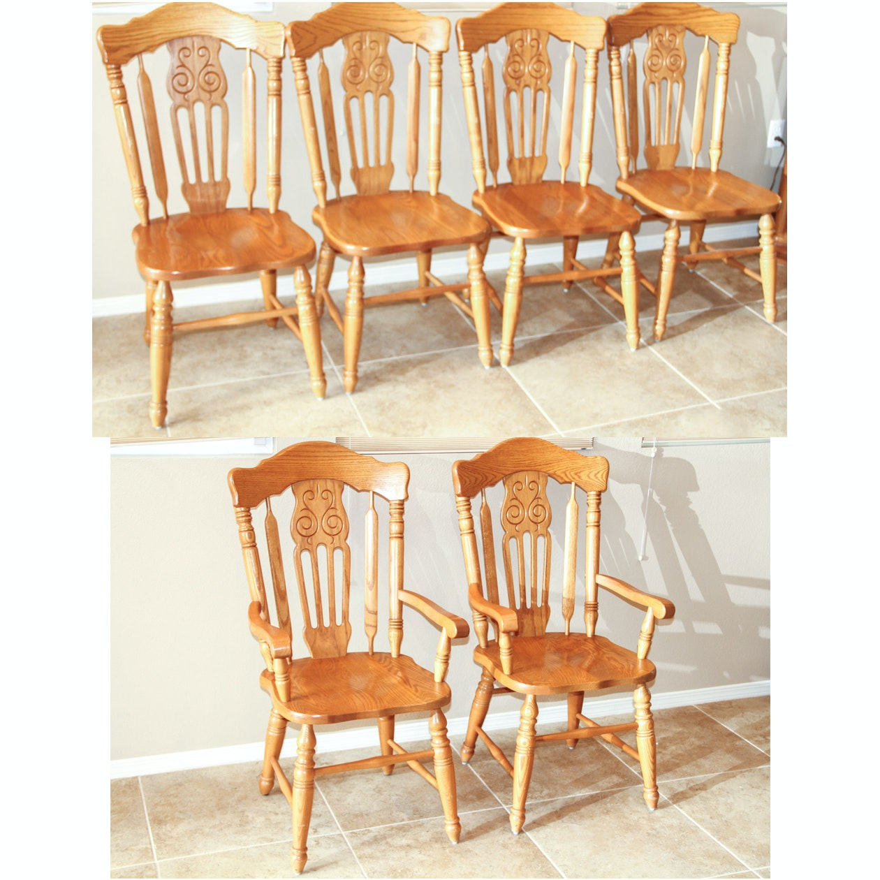 Set Of Virginia House Oak Dining Chairs ...