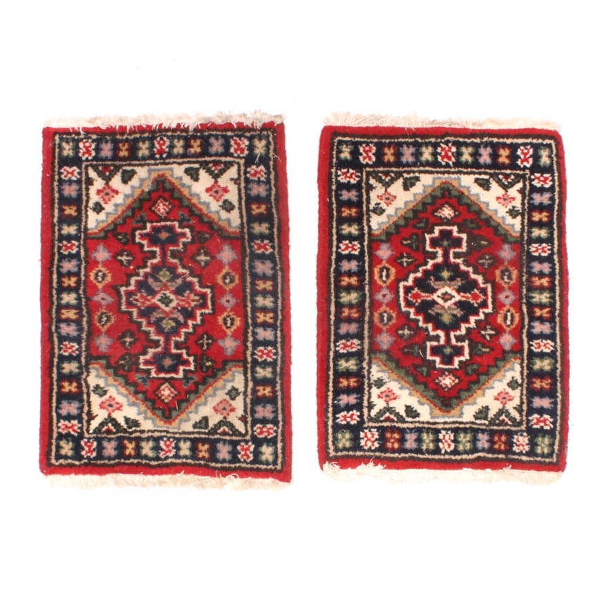 Matching Pair of Handwoven Persian Accent Rugs
