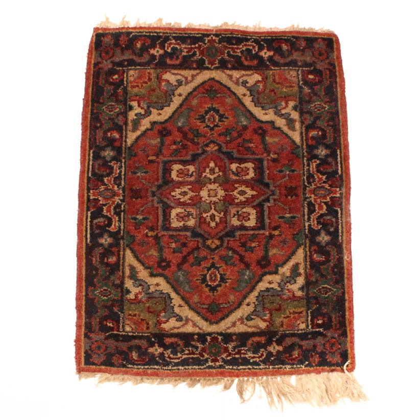 Hand Knotted Persian Heriz Wool Accent Rug