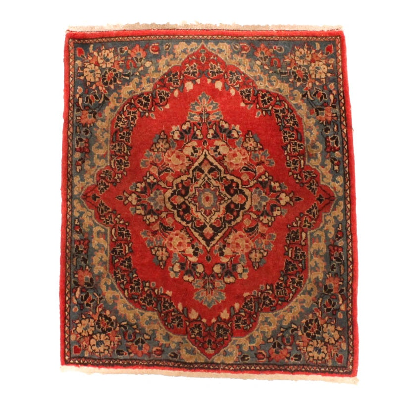 Hand-Knotted Indo-Persian Kerman Style Accent Rug