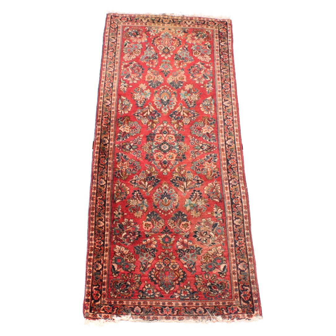 Hand-Knotted Persian Sarouk Carpet Runner