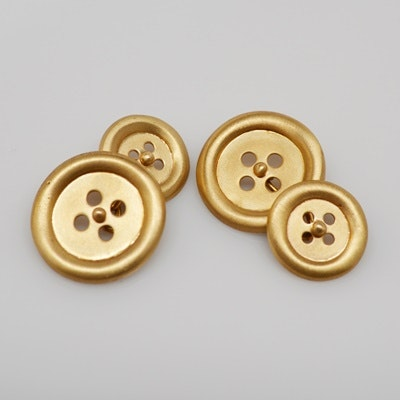 14K Brushed Yellow Gold Button Cufflinks