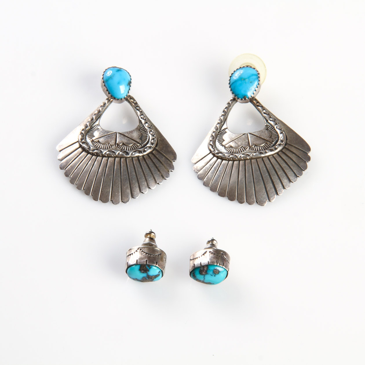 Navajo Inspired Turquoise and Sterling Silver Earrings