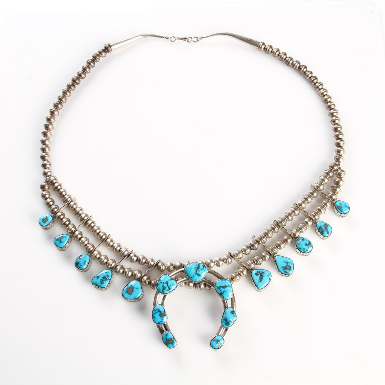 Sterling Silver and Turquoise Squash Blossom Necklace