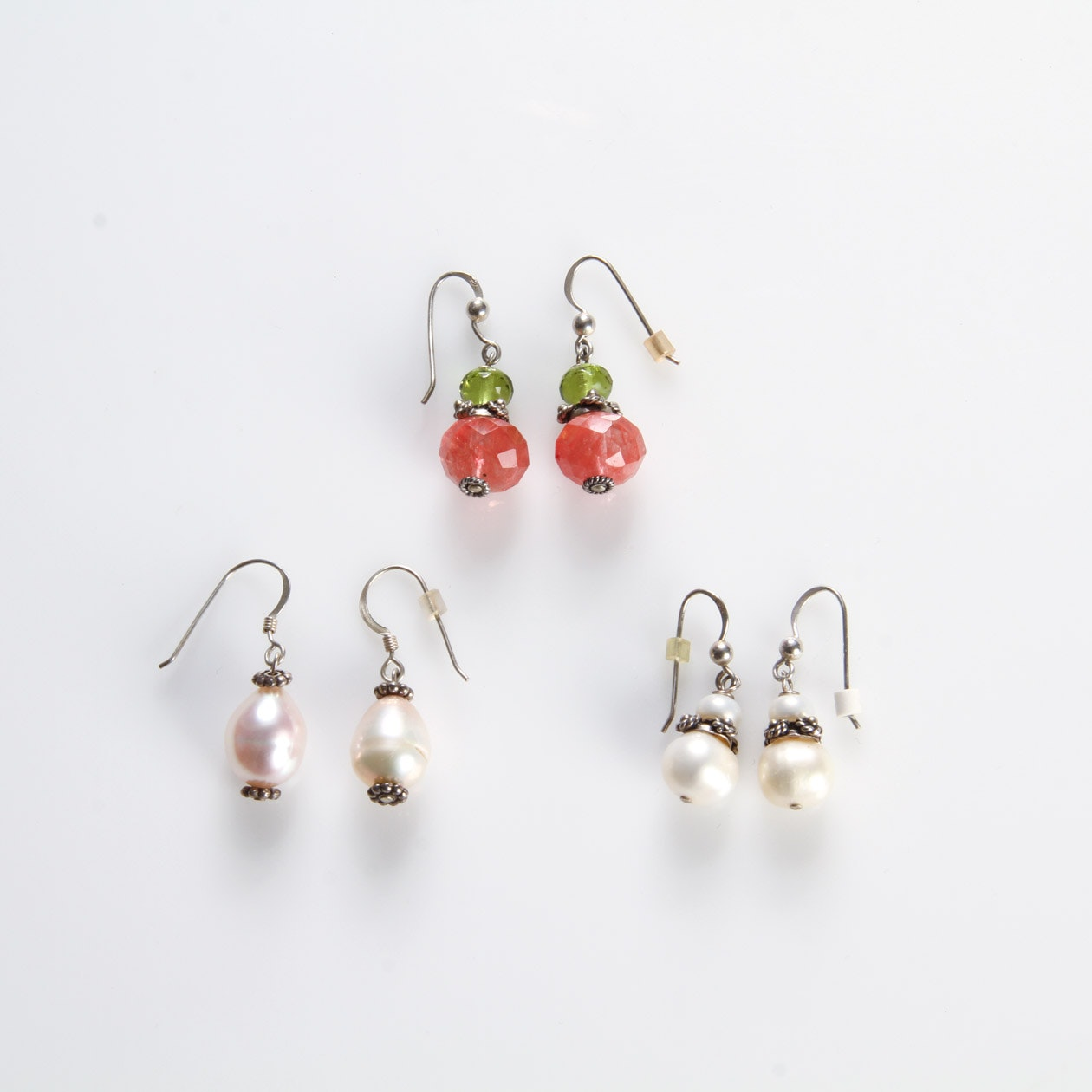 Assortment of Sterling Silver and Pearl Drop Earrings