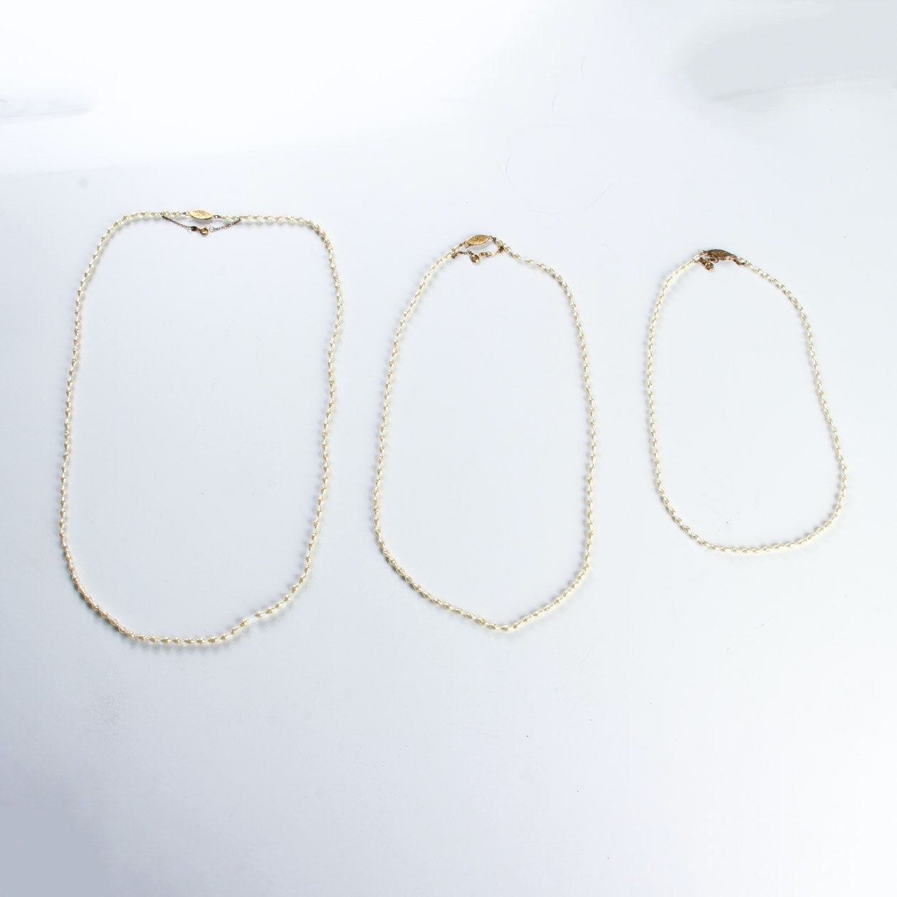 Three Vintage Freshwater Pearl Necklaces with Sterling Closures