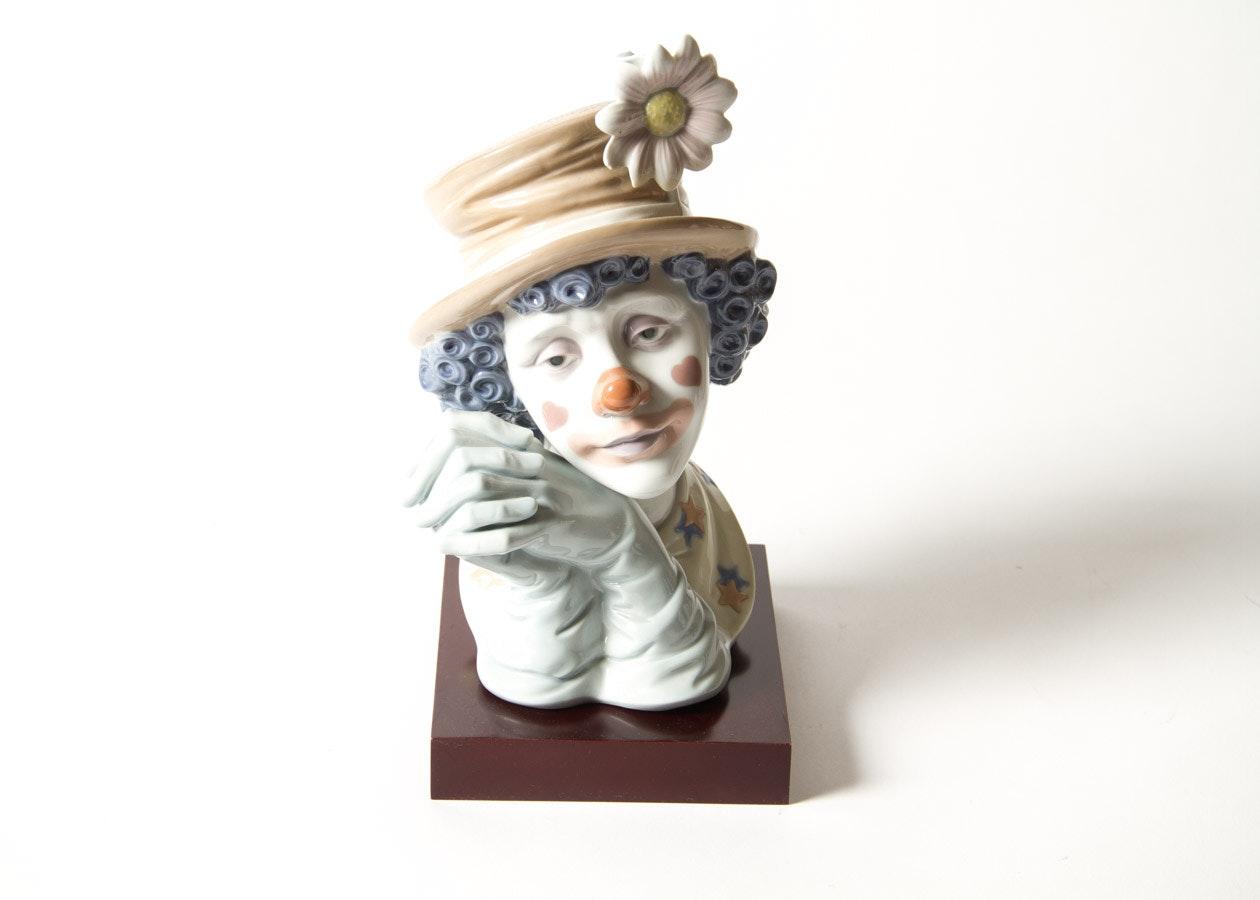 "Lladro ""Melancholy"" Porcelain Clown Figurine"