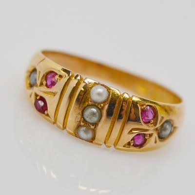 Antique Victorian 18K Yellow Gold Natural Pearl and Ruby Ring