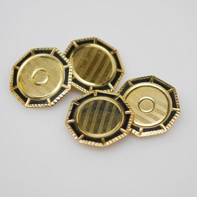 Antique 10K Yellow Gold Enamel Cufflinks