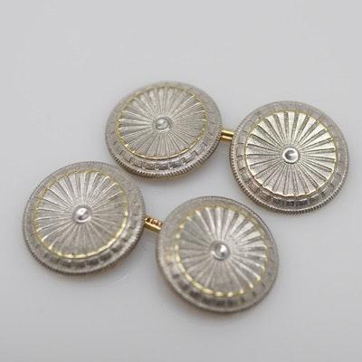 Antique 14K White and Yellow Gold Round Cufflinks