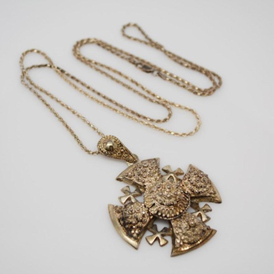 Vintage jerusalem sterling silver maltese cross pendant necklace ebth vintage jerusalem sterling silver maltese cross pendant necklace aloadofball Images