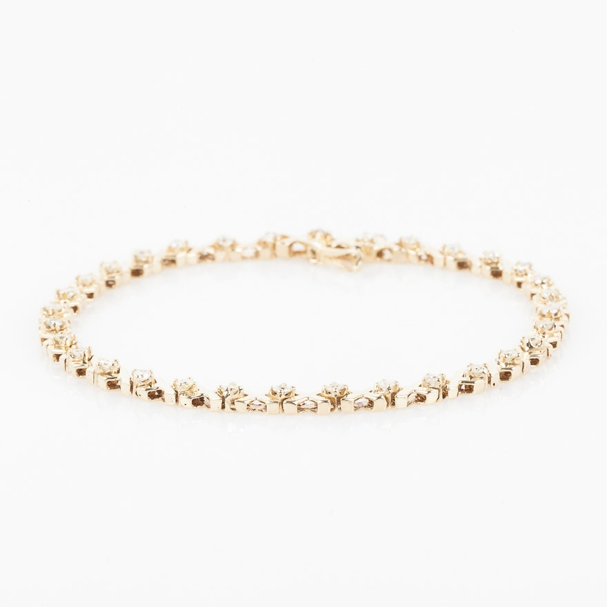 14k Yellow Gold And 1 01 Ctw Diamond X O Bracelet