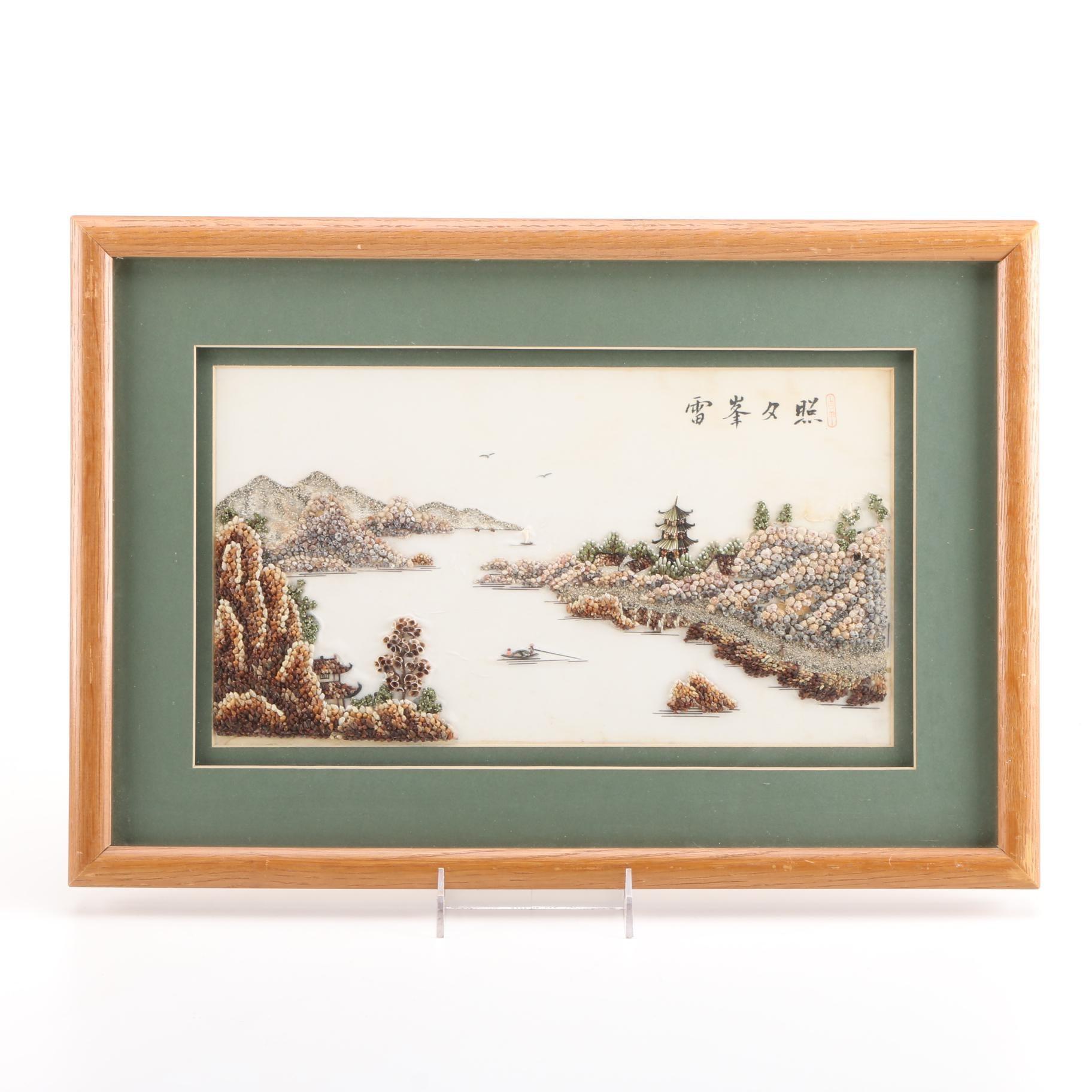 Japanese Inspired Mixed Media Shell Art of River Scene