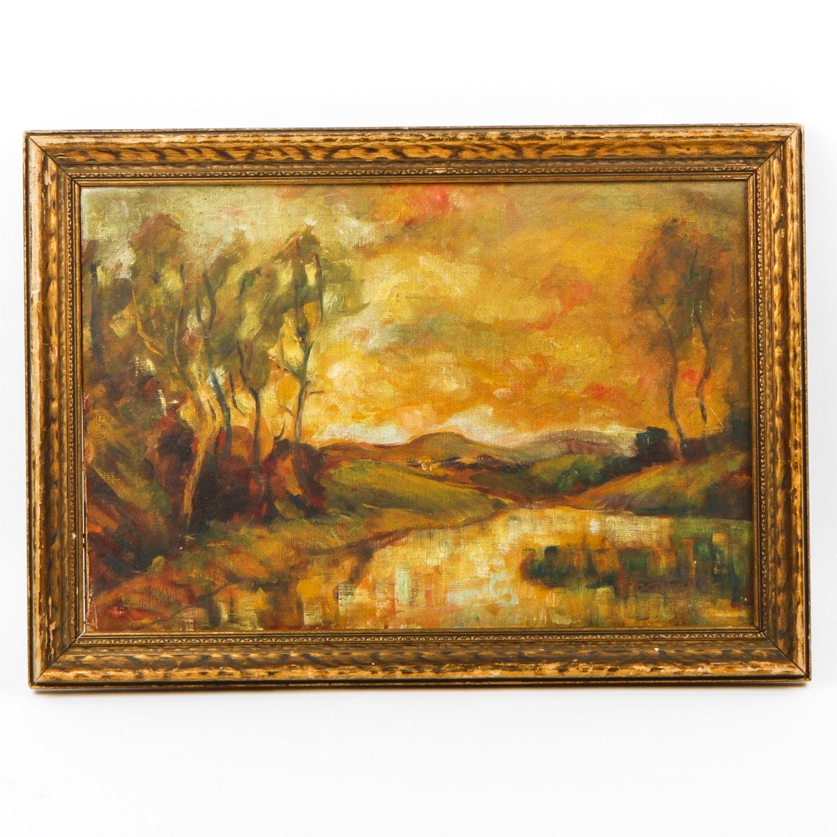 Framed Oil Landscape Painting