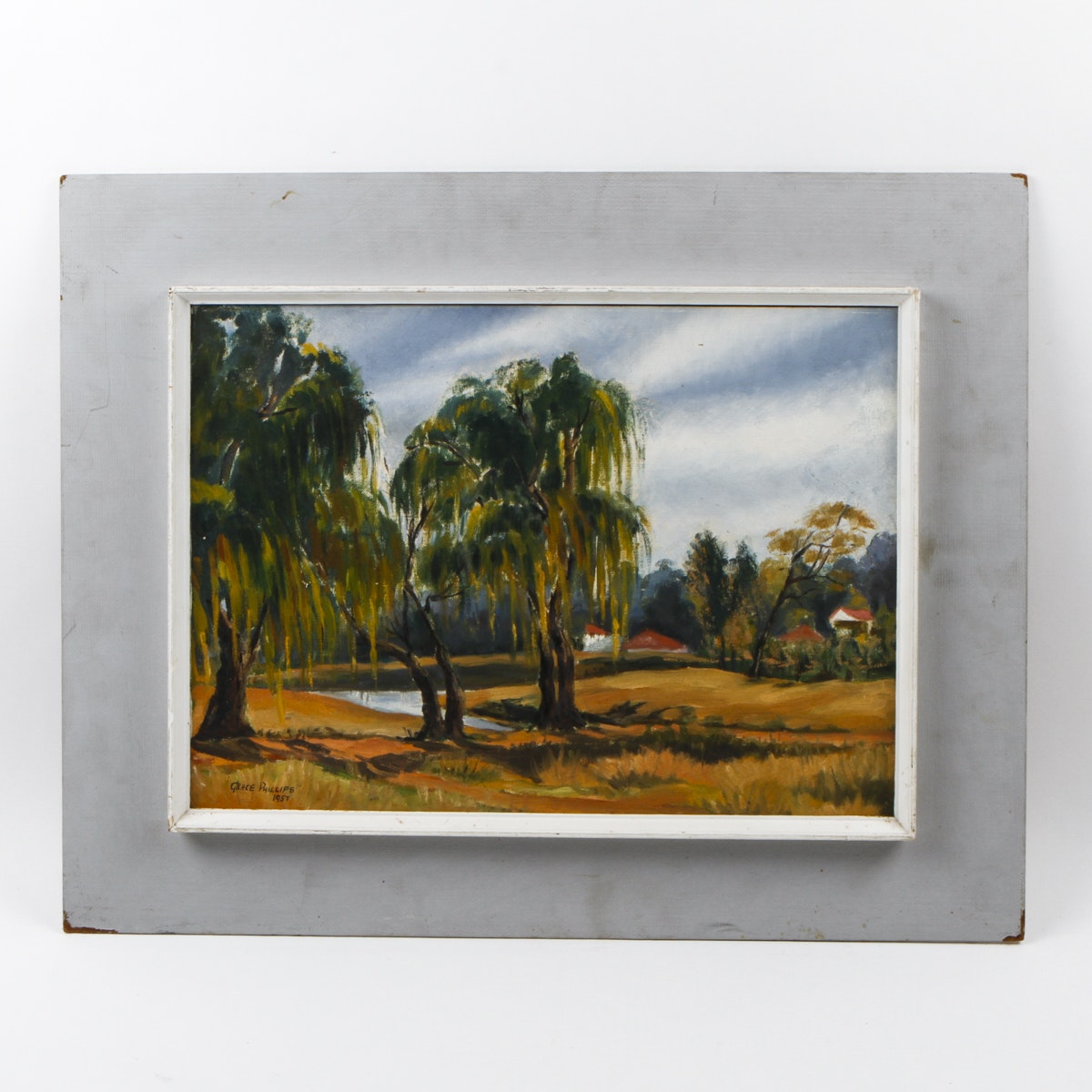 Framed Painting of Willow Trees